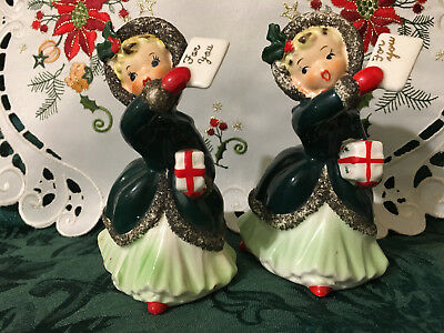 Vintage Napco Christmas Pair Of Ceramic Shopper Girl Figurines-Adorable!