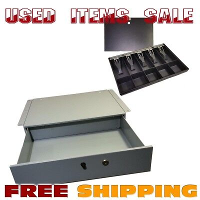 Used MMF Steel Manual Cash Drawer with Under Counter Brackets & insert Cash Tray