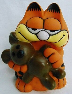 """Vintage Collectible Garfield the Cat and Pooky Bear Plastic Piggy Bank 6"""" GUC"""