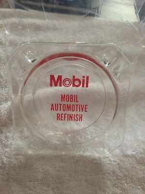 Mobil Automotive Refinish square glass ash tray vintage station advertising oil