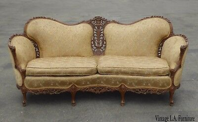 Vintage French Provincial Rococo Ornately Carved Blue Settee Sofa ~ Louis XVI