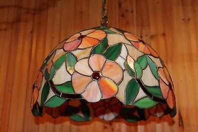 "Vintage Tiffany Style 16"" Hanging Stained Glass Light Lamp With Flowers Vgc"