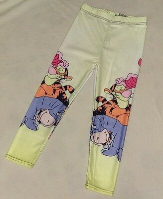 Girl's Small (approx 4/5) Winnie the Pooh leggings Piglet Eeyore Tigger Yellow