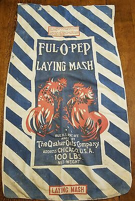 Vintage 1940's Ful-O-Pep Laying Mash Feed Sack by Quaker Oats Company 100 lb bag