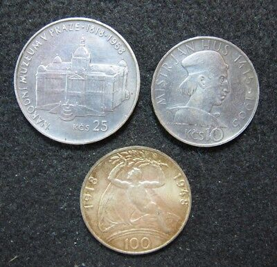Lot of 3 Czechoslovakia Silver Coins, LOOK !