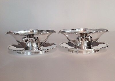 Pair of  FRENCH Continental 900 Coin Silver GRAVY SAUCE BOATS