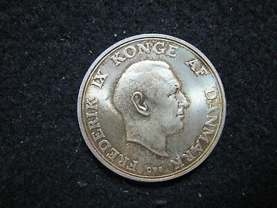 1958 Denmark 2 Kroner Silver Uncirculated with Subdued Luster  KM845
