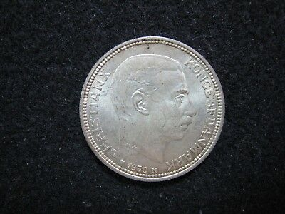 1930 Denmark 2 Kroner Silver Uncirculated with Golden Toning  KM 829