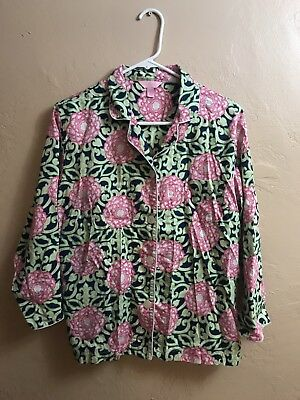 Lilly Pulitzer Women's Pajama PJ shirt top floral Blue Green button down Size L