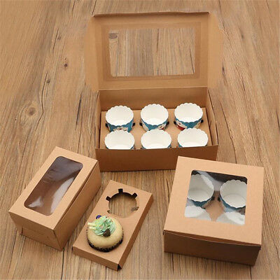1/5/10pcs 2/4/6 Holes Cupcake Cookies Fairy Cake Muffin Boxes Clear Window Gift