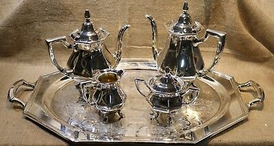 Vintage Wallace Silver Coffee & Tea Service Set w/Sugar,Creamer & Tray