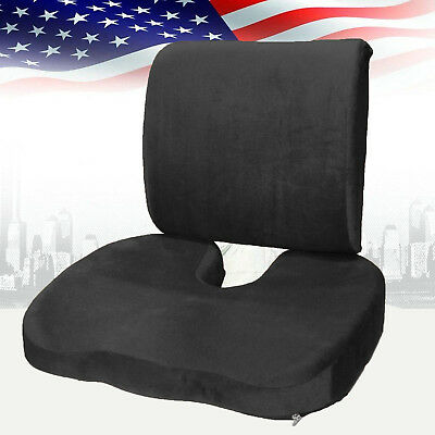 Memory Foam Coccyx Orthoped Seat Cushion Back Support Lumbar Pain Relief Pillow