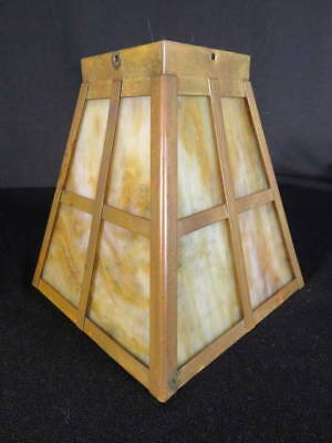 Circa 1900 Large 'Arts & Crafts' Slag Glass Panel Early Electric or Gas Shade