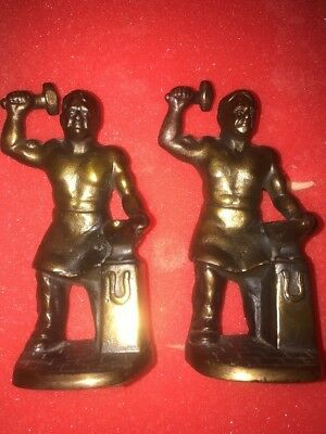 Set of 2 Vintage Cast Iron SHIRTLESS WORKING BLACKSMITHS Statues Heavy Bookends