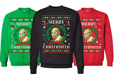 Merry Chrithmith Ugly Christmas Sweater. Funny Mike Tyson Parody best Sweatshirt