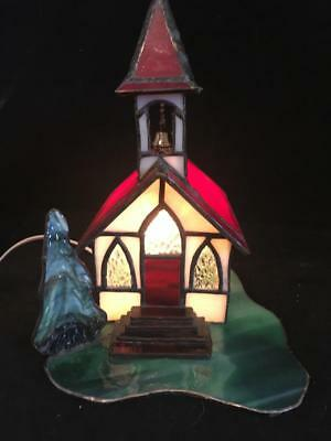 Vintage Leaded Stained Glass Night Light Table Lamp ~ Village Church