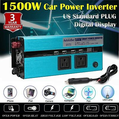 1500W/3000 Watt PEAK Power Inverter 12V DC to 110V AC Adapter Charger Supply USA