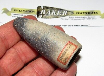 Museum Grade Pipestone Medicine Tube Peace Pipe Indian Artifact COA Arrowhead