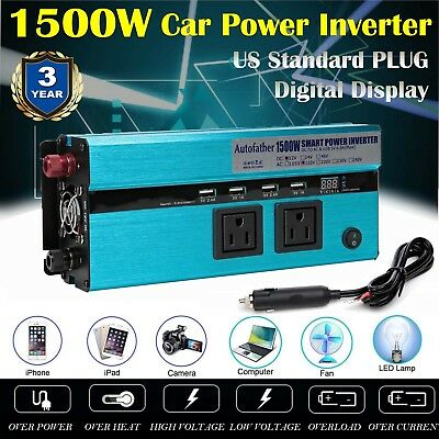 1500W Power Inverter DC 12V to AC 110V Car Adapter w/ 2.4A 4 USB 3 Charging Port