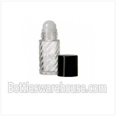 5ml (1 Drum) Roll On Swirl glass Bottle with Housing & Pink Cap,