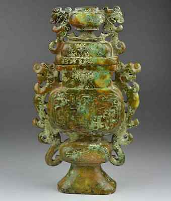 old jade nephrite carved dragon statue vase chinese antique beast china pot