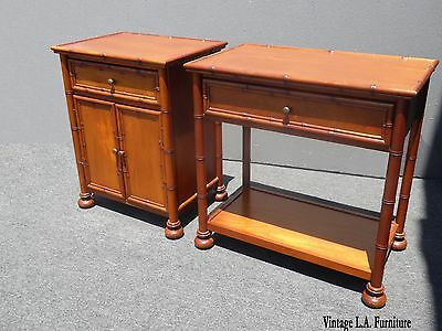 Pair Restoration Hardware Tiki Palm Beach Style His Hers Nightstands Cedar Lined