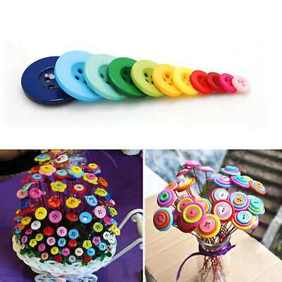 100pcs/Lot Resin Buttons 4 Holes Round Craft Buttons for Sewing Kids DIY Crafts