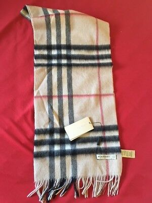 New Burberry 100% Cashmere Scarf Classic Camel made in Scotland light beige