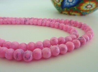 140 pce Pink  Round Drawbench Glass Beads 6mm Jewellery Making Craft