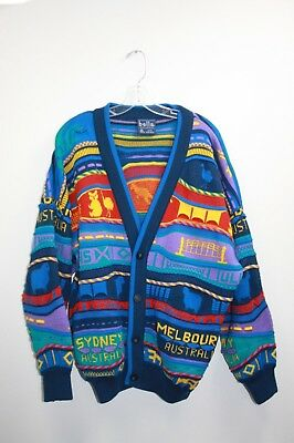 Bella Coogi Style Cardigan Melbourne Sydney Button Size Large Pure New Wool Aus