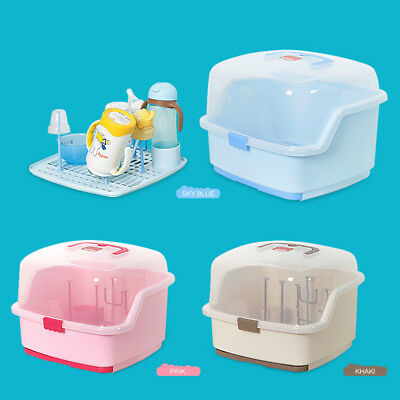 Clear Cover cupboards Feeding Baby Bottle storage Drying Rack Cutlery Boxes QT47