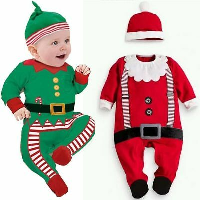 Baby Boy Girl First Christmas Xmas Santa Claus Costume Outfit Dress Clothes+Hat