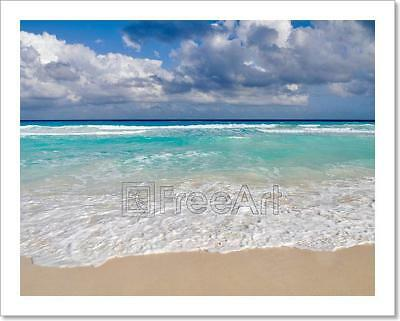 Beautiful Beach Ocean In Cancun, Mexico Art Print Home Decor Wall Art Poster - C