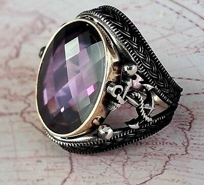 Anchor Turkish Ottoman Amethyst Gemstone Solid 925 Sterling Silver Men Ring