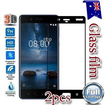 2x Nokia 3 5 6 6.1 7 Plus 8 Full Coverage Tempered Glass LCD Screen Protector