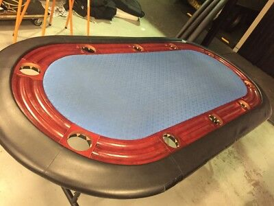 10 Seater Poker Table, cup holders & a case of gaming chips pick up michinbury