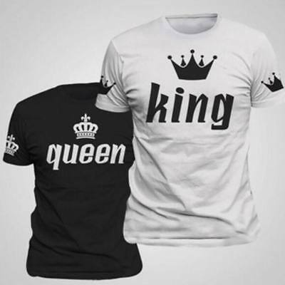 2018  Couple T-Shirt Crown King And Queen Love Matching Summer Unisex Tee Tops