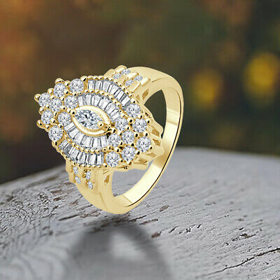 2.74 Ct Marquise Sim-Diamond 14K Yellow Gold Fn Cluster Engagement Wedding Ring