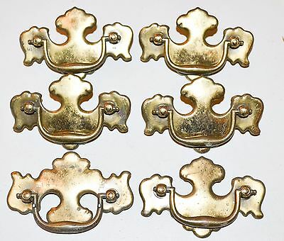 Vintage Brass Gold Chippendale Batwing Drawer Pulls Drop Bail Handle Lot  K75