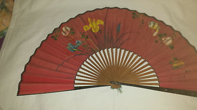 Japanese hand painted silk leaf fan - Mita OGI c1880 with makers stamp