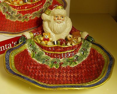 Fitz & Floyd Santa's Christmas Forest Friends Serving Bowl  NEW in Box 2011