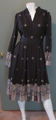 Vtg 1970's Posh by Jay Anderson Floral Patterned Dress Lined Size Medium M 4 / 6