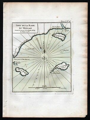 1764 - Newfoundland Canada Mingan Archipelago Bellin handcolored antique map