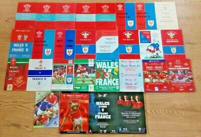 Wales v France Rugby Union Programmes 1948 - 2012