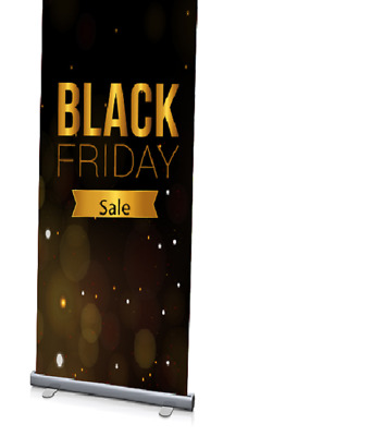 "24"" x 60"" Roll-Up Retractable Banner Stand for Portable Trade Show RETAIL+ PRINT"