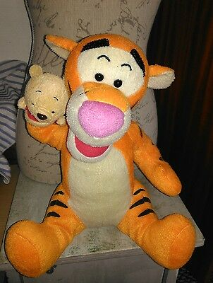 DISNEY Winnie The Pooh TIGGER w/small glove puppet of Pooh Soft Plush Toy  12""