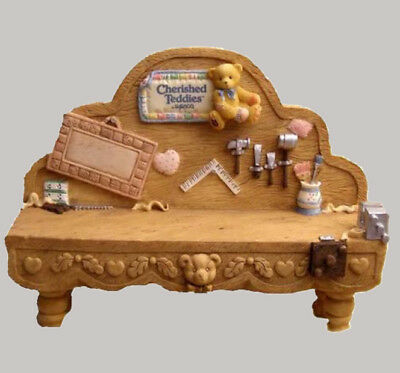 """Cherished Teddy """"Antique Tool Bench Displayer"""""""
