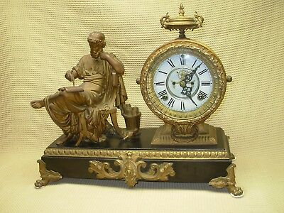 Antique Working Very Heavy Cast Iron Ansonia Figural Mantle Shelf Clock