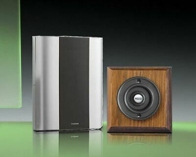 Libra+ Classic 100m Wireless Doorbell kit Matte Black Push/Tudor Oak, D912TMB