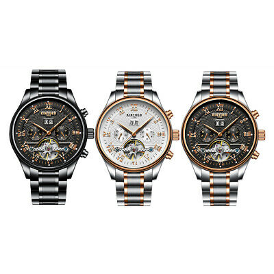 Mens Date Automatic Watch Black/Sliver Mechanical Stainless Steel Wrist Watch